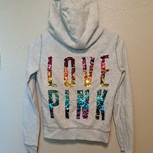 Victoria's secret pink rainbow sequin gray hoodie